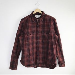 Grayers Men's Rust Orange Plaid Flannel Shirt L
